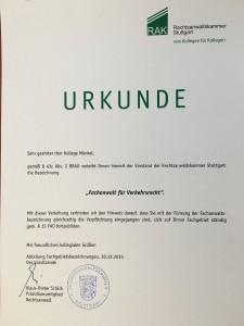 Urkunde RAK Stuttgart